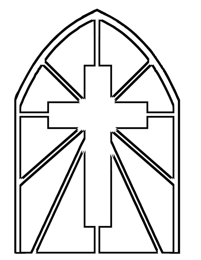 Stained glass cross coloring page