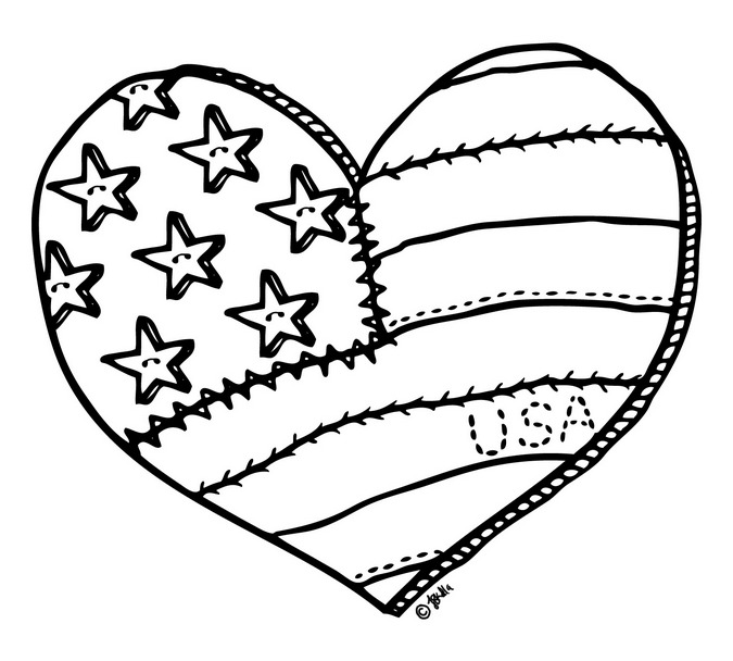 heart shapes - Heart American Flag Coloring Page